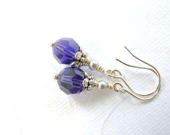 Dark Purple Crystal Earrings - Purple Velvet Swarovski Crystal Earrings on Sterling Earwires.