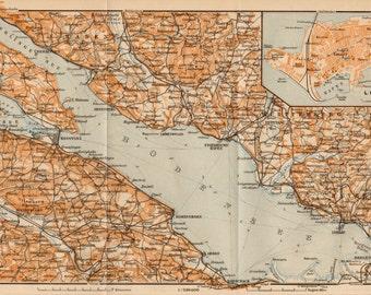 1907 Lindau, Bodensee, Lake Constance, Germany Antique Map, Bregenz, Austria, Bayern, Baden, Konstanz, Bavaria, Swabia, Switzerland, Swiss