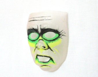 Vintage 1984 Zombie Mask, Halloween Mask, Photobooth Prop, Neon Yellow, Neon Green, Vintage Halloween