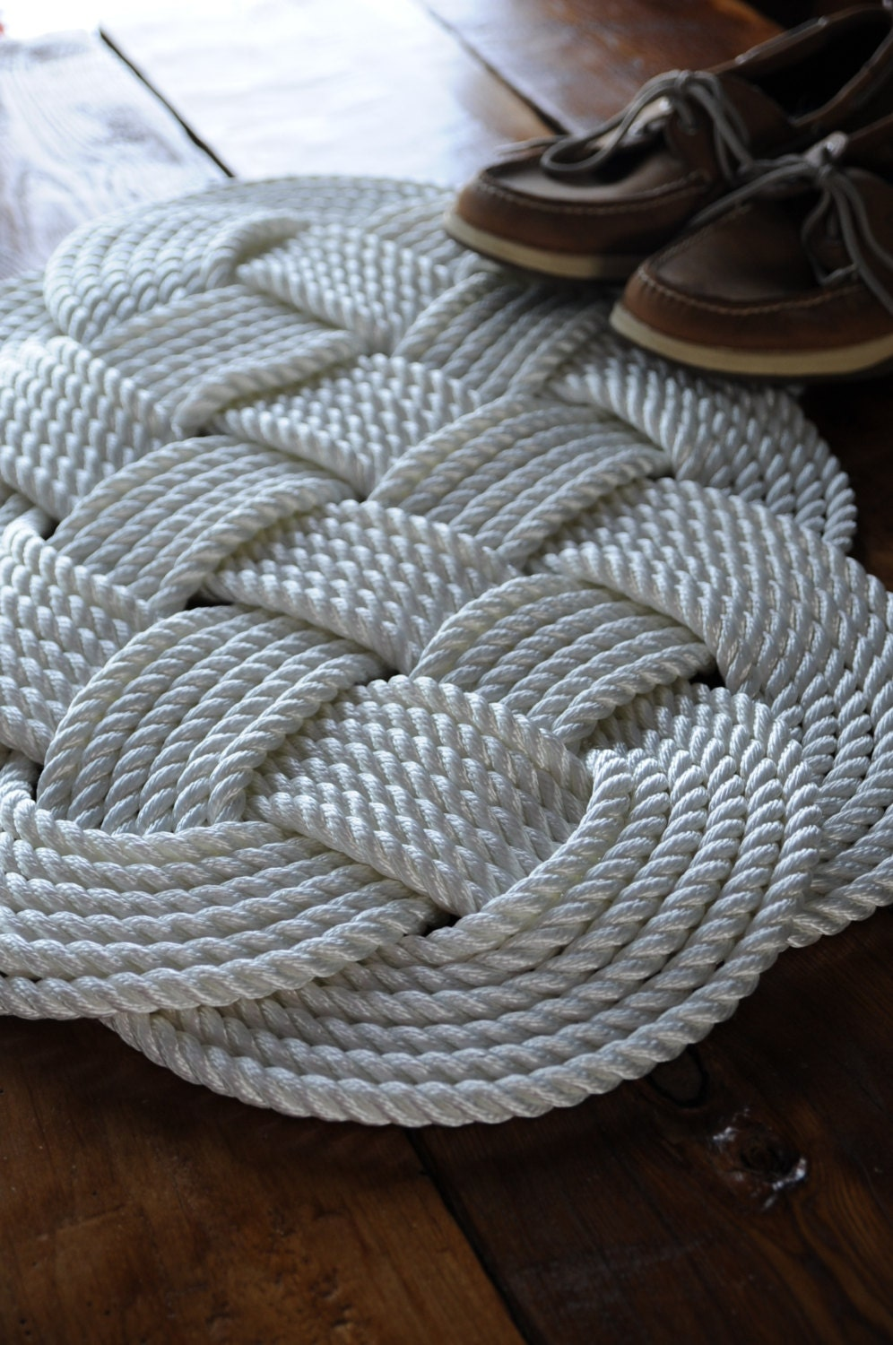 Nautical white rug nautical decor bath mat nylon rope for Rope bath mat