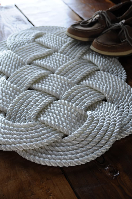 Nautical White Rug Nautical Decor Bath Mat Nylon Rope