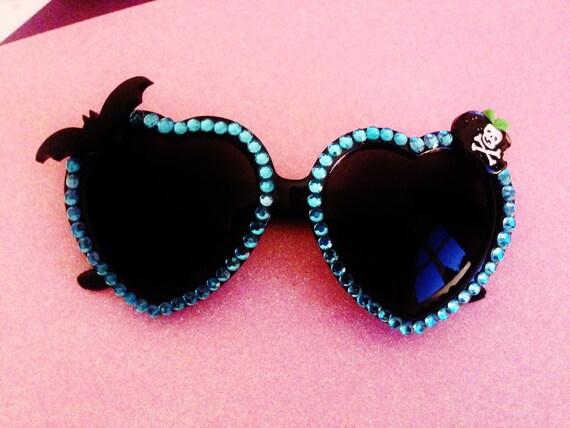 Creepy Blue Rhinestone Heart Shaped Sunglasses. Gothic, Grunge