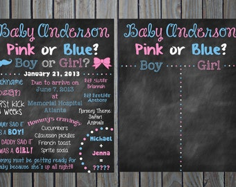 Custom Printable Gender Reveal Baby Shower Chalkboard Sign and Sign Board Poster // 16x20