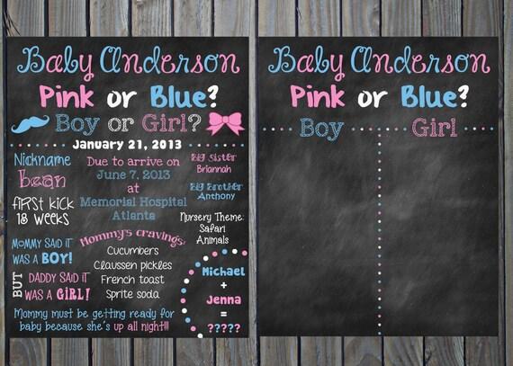 custom printable gender reveal baby shower chalkboard sign and
