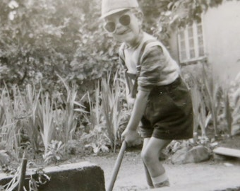 Wolfgang In The Garden - Cute Little Boy Wants To Be A Farmer Snapshot Photo - Free Shipping