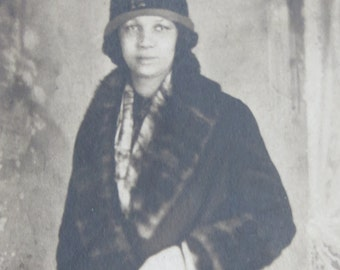 Wealthy 1920's African American Black Woman In Fur Coat Real Photo Postcard RPPC - Free Shipping