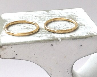 Gold ring, stacking ring,hammered ring,simple rings, above knuckle, thin rings -A3