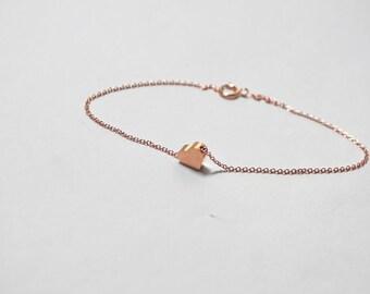 Rose Gold Heart Bracelet, Heart  Bracelet, Heart Jewelry,Pink  Heart Bracelet, Pink Heart Jewelry, Anniversary Gift