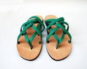 Leather gift for her, green triple leather women sandals, wholesale sandals