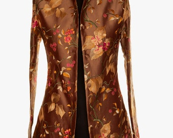 Silk Long Nehru Jacket in Burnt Umber