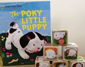 The Poky Little Puppy Gift Set // Childrens Book Blocks // Baby Shower Gift // Natural Wood Toy