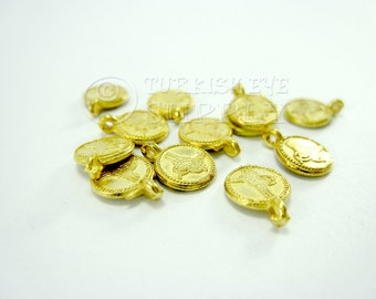 12 Mini Gold Coin Charms Matte 22k Gold Plated Mini
