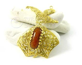 Sufi Whirling Dervish Pendant with Bezel Set Brown Jade, 22k Matte Gold Plated Gemstone Pendant, Turkish Jewelry