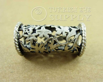 Large silver Tube Bead, Floral Fretwork Tube Spacer, Silver Plated Brass Necklace Tube
