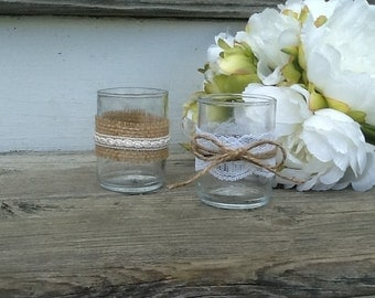 Set of 10 rustic wedding tea light holders, burlap and lace wedding, country wedding decor