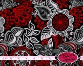 RED & BLACK Fabric by the Yard Half Yard or Fat Quarter Floreo Floral Fabric Red Black Grey Fabric 100% Cotton Quilting Apparel Fabric a3-41