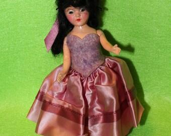 Vintage Doll - Brunette - Pink Dress 1940s-1950s Duchess/Nancy Ann/PMA
