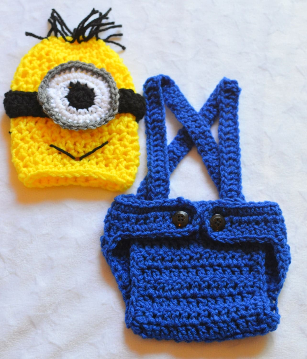Crochet Patterns For Baby Overalls : Baby Boy Crochet Minion Outfit. Minion Costume. by ...