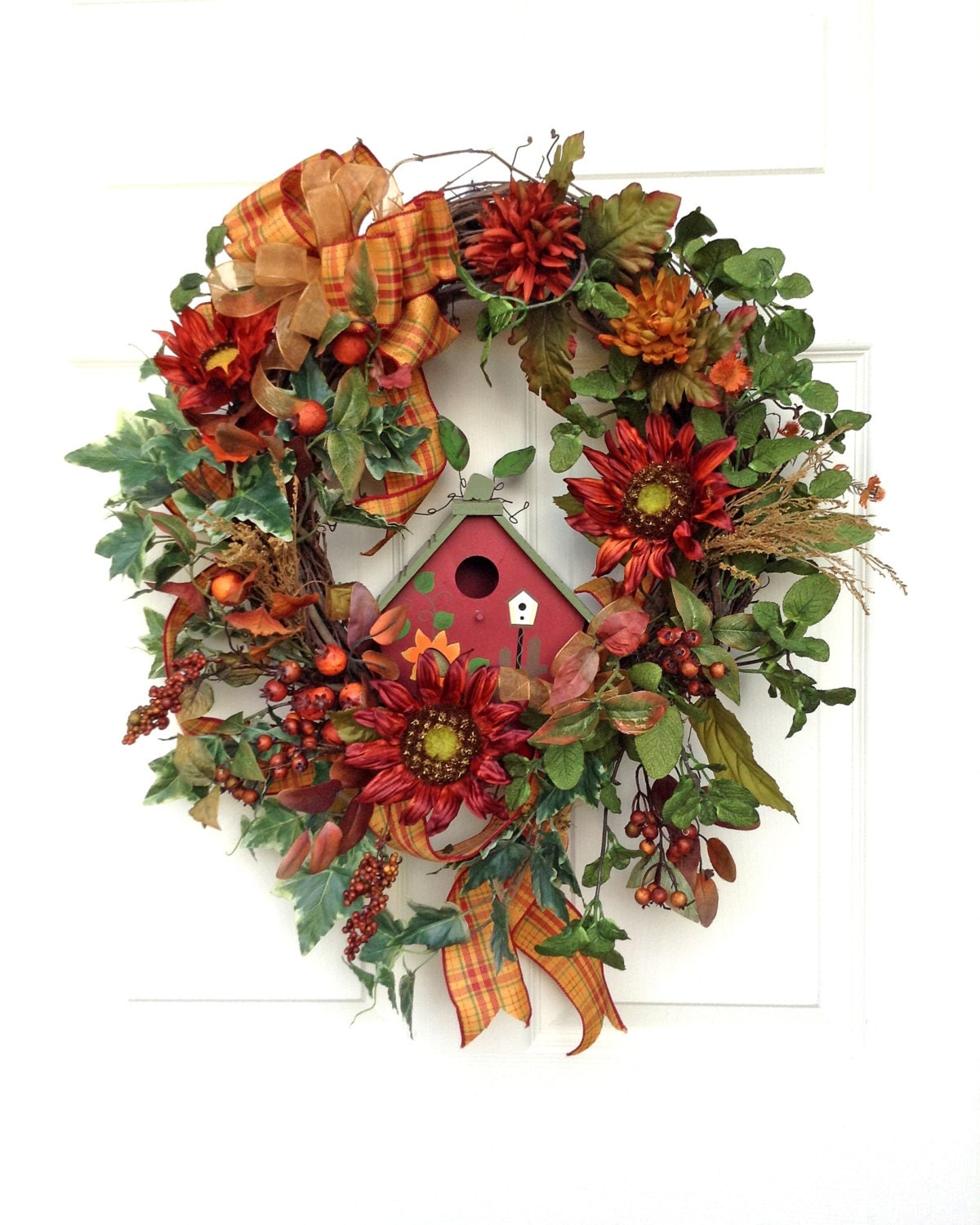 Xl sunflower fall wreath fall decor fall wreaths for door Fall autumn door wreaths