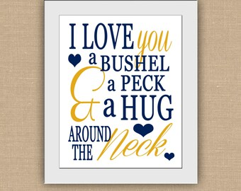 I Love You A Bushel and a Peck and a Hug Around the Neck PRINTABLE.  Children Subway Art. Baby Nursery Wall Art. DIGITAL file..