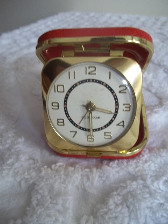 Vintage Sun Mark Travel Alarm Clock Wind up with Red Leather Brass Case