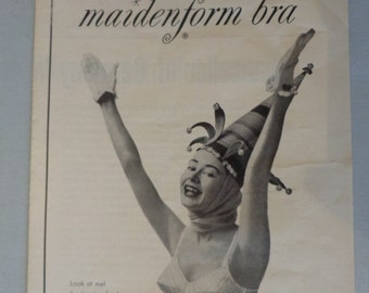 Vintage Maidenform Bra Ad Jack in the Box 1954