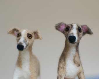 Whippet Pet Sculpture - Two needle felt wool dogs - MADE To ORDER