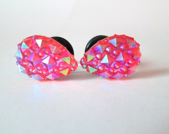 SALE - Pink Sparkle Druzy Teardrop Plugs for Stretched Ears - Available in 0g, 00g