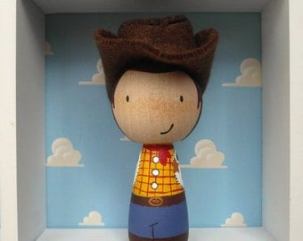 Cowboy Birthday Cake Topper - hand painted wooden doll