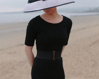 Wide brimmed 'Audrey Hepburn' style hat perfect for wedding or race event