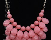 Statement necklace Pink necklace Bubble Necklace bib necklace gift teardrop necklace for girls Pink Jewelry for holiday gift Bead necklace