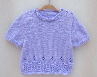 Toddler gift,Easter,Flower girl, Baby Girl,Hand knitted Sweater - Lilac  -Special Gift for little girl.