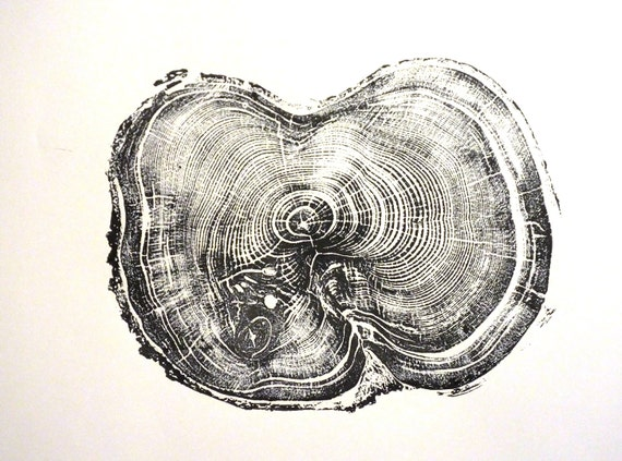 Tree stump art, Albion Basin UT, tree ring gift, Handmade Print, wood grain art, Christmas gift, Thanksgiving art, woodcut art, Dad mom gift
