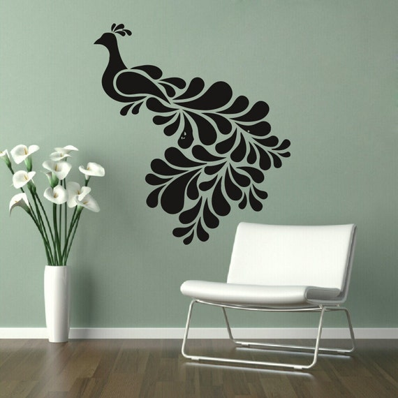 items similar to wall decals peacock birds home vinyl decal sticker kids nursery baby room decor. Black Bedroom Furniture Sets. Home Design Ideas