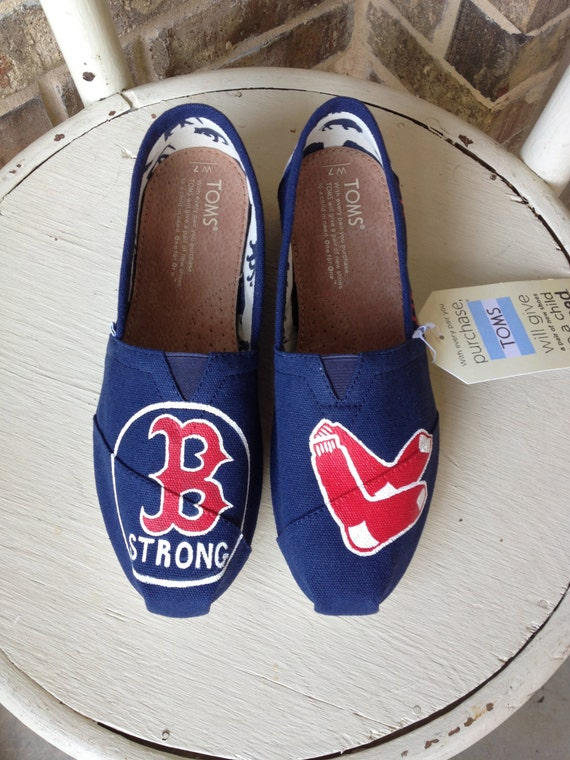 Boston Red Sox Hand Painted TOMS