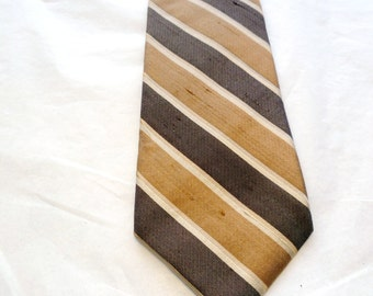 Givenchy Raw Silk Tie Brown and Tan, Vintage 1970s 3 inches wide 60 inches long