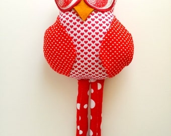 Red Stuffed owl toy, Owl doll, Owl decoration,Plush owl, Child friendly owl, Patchwork fabric owl, Cloth owl rag doll, Red white heart owl
