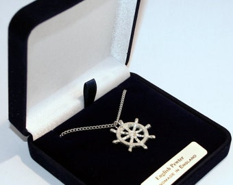 Ship's Wheel (Helm) Necklace, Handmade in English Pewter, Gift Boxed (R)