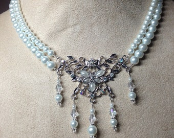 Double Strand Pearl Necklace with a Pearl and Crystal Pendant