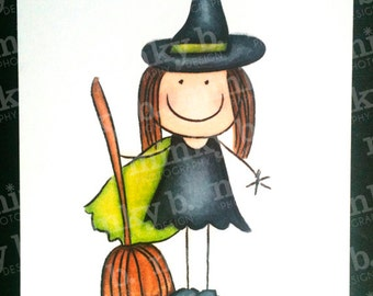 """INSTANT DOWNLOAD Digital Stamp """"Little Witch - Halloween"""" by Minky B Designs"""