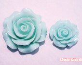 6pcs Assorted Mix Size Mint Green Lovely Rose Cabochon 3D Flower Flatback Cabochon Cell Phone Case Deco Nail Art YLFWRO3005