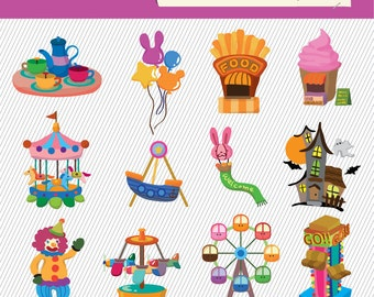 Kids Playground Illustration. Kids Playground Clipart. Kids Toy Digital Images. 059