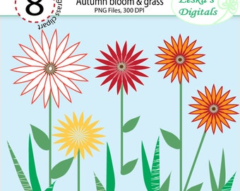 Flowers and grass clipart - Orange, red and yellow flowers and grass clip art - Floral Clip Art