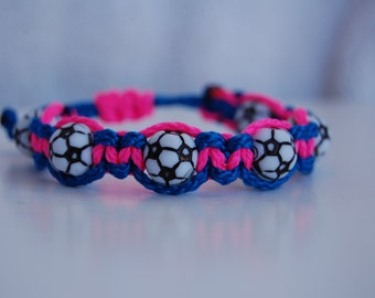 Royal Blue and Hot Pink Soccer Bracelet  - More cord colors and sports theme options available