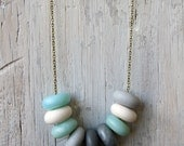 Mint Blue, White, Grey & Silver  - Handmade Necklace by Leonie Brown