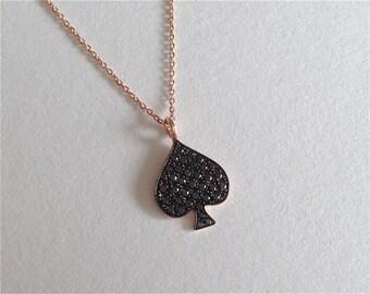 14K Rose Gold Pavé Black Diamond Ace of Spades Necklace