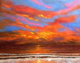 Seascape Oil Painting: Romantic skies sunset