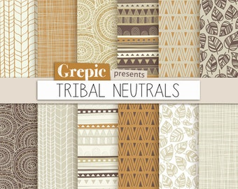 "Tribal digital paper: ""TRIBAL NEUTRALS"" with tribal patterns in brown, beige, white, grey earth tones for scrapbooking, invites, cards"
