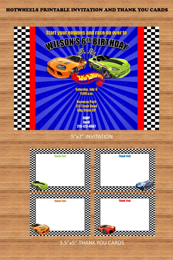 Items similar to Race Cars Printable Invitation and Thank you Cards ...