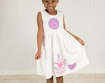 Tea Party Dress-Personalized toddler dress-You choose the color